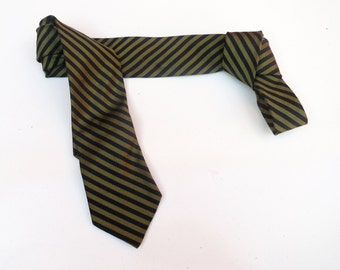 Vintage 1950s 1960s Mod Silk Skinny Neck Tie - Black Olive Green Diagonal Stripes