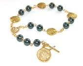 Stella Maris Chaplet Rosary, Tahitian Blue Swarovski® Pearls, Our Lady Star of the Sea