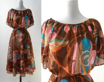 Vintage 70s Dress, 1970 Brown Dress, Retro Multicolored Dress, Retro 70s Dress, 70s Boho Dress, 70s Summer Floral Dress, Vintage Floral