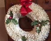 "True Vintage White Flocked Bottlebrush Wreath Mercury Glass Ornaments / 16"" 1950s"