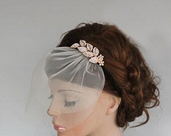 Bridal Headpiece with Veil Rhinestone Headband, Detachable Two Tier Mini Tulle Blusher, Wedding Hair Accessory Crystal Headpiece, Handmade