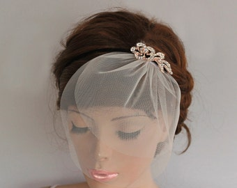 Bridal Headpiece, Rhinestone Headband, Detachable Blusher Veil, Wedding Hair Accessory, Bridal Crystal Headpiece Black Velvet, Handmade