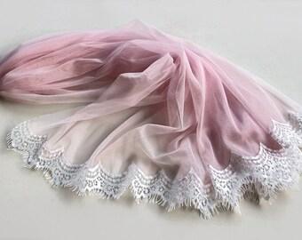 Pink Tulle Veil, Eyelash Lace Trim, Bridal Blusher, White, Pastel Unusual Veil, Unique Design, Handmade Pale Dogwood Wedding