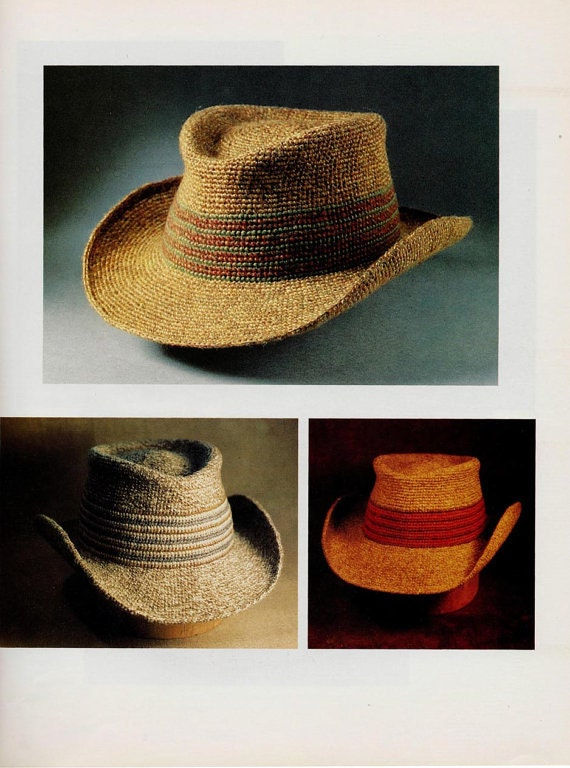 Amigurumi Cowboy Hat : Crochet hard brimmed hat cowboy Vintage 1970s English pattern