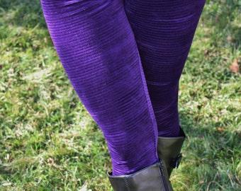 Ladies Purple Ottoman Stripe, Velvet Leggings - pick your size