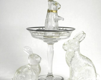 SALE-Vintage Hand-cut Crystal Compote with Sterling Overlay