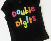 Personalized front, back, Neon double digits fun for 10 years -  personalized applique SHIRT, girl tween, zebra birthday number name on back