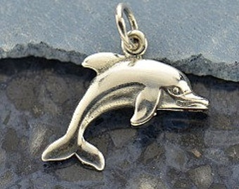 Sterling Silver Dolphin Charm - Pendant, Ocean, Vacation Charms, Beach, Animals