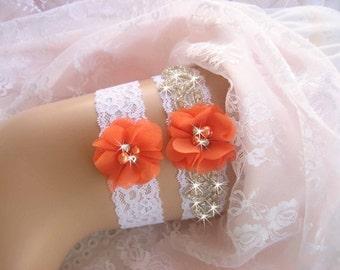 Orange Bridal Garter, Fall Wedding Garter Set, Lace Garter, Toss Garter included Ivory with Rhinestones and Pearls Custom Wedding colors