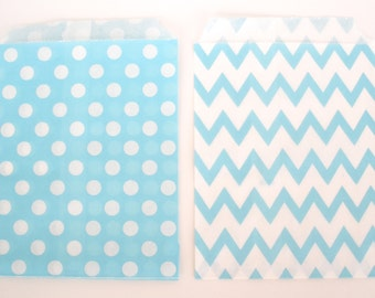20 Favor Bags / Treat Bags Light Blue Chevron Bags or Light Blue Polka Dot Bags  Wedding Favor Bags, Popcorn Bags, Food Bags, Candy Bags