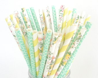 Paper Straws Vintage Floral Bouquet Rose Floral Mint Green Damask Pastel Yellow Stripe / Drinking Straws / Fast Shipping