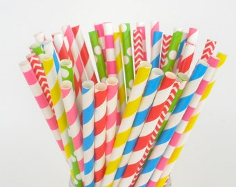 "Paper Straws ""Peppa Pig"" Party Mix Paper Drinking Straws Cake Pop Sticks Mason Jar Paper Straws Birthdays Choose 25, 50, 75 or 100 Straws"