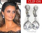 Clip On Wedding Earrings White Crystal Teardrop Bridal Earrings Cubic Zirconia Bride Earrings Celebrity Jewelry CZ Bridesmaid Gift Earrings