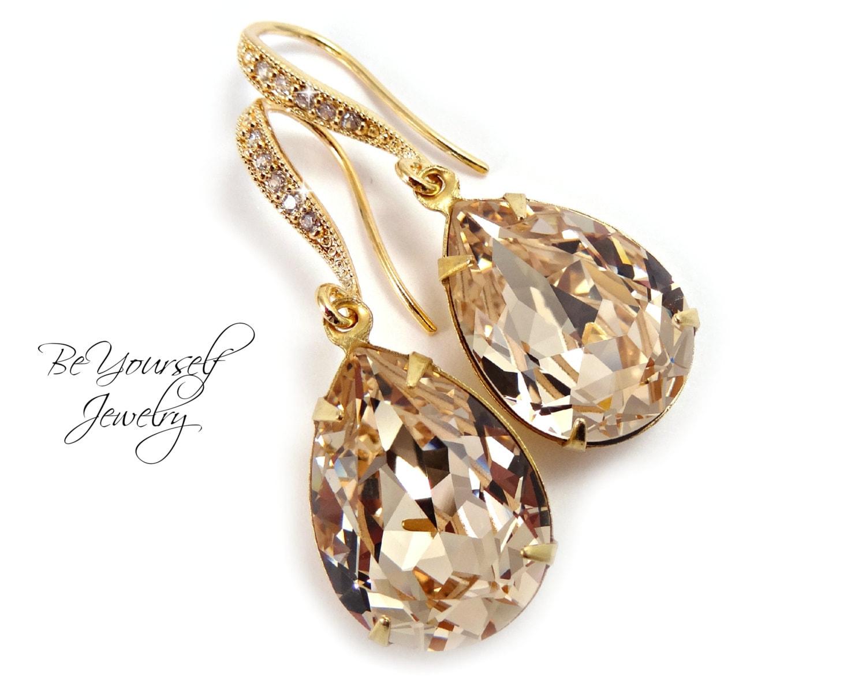 Champagne Bridal Earrings Gold Teardrop Bride Earrings Pastel Wedding Jewelry Swarovski Crystal Light Silk Wedding Earrings Bridesmaid Gift