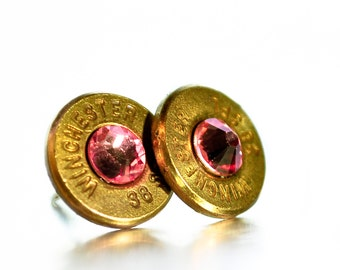Bullet Stud Earrings - Brass and Pink