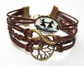 Eternity Infinity, Tree of life & Dancing sisters silhouette leather bracelet bronzecolored - twin sister best friend besties gift jewelry