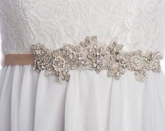 wedding sash Small BELINDA, bridal rhinestone sash, wedding  beaded belt,