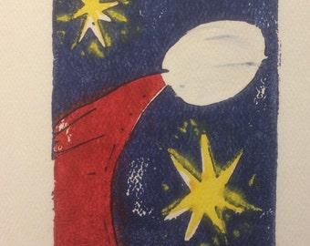 Christmas card--Santa and Stars on white paper--handmade, 3-color linocut notecard, with envelope