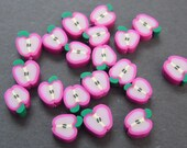 New 20 Fimo Polymer Clay Fruit Beads 10mm Fushchia Pink Apple