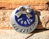 The Leela (#044) - Unique Handstamped Pet ID Tag Layered 2 Disc Bow Dogs Monochromatic