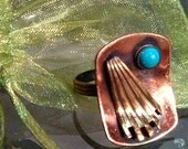 Copper, Brass and Turquoise Ring Vintage and Adjustable