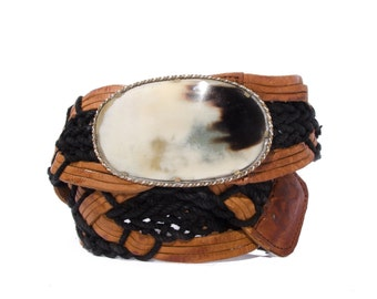 S-M | Woven Leather & Cloth Belt Black and Brown with Large Western Buckle