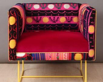 Suzani box armchair - yellow sun