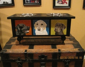 Large Elevated Custom Pet feeder personalized with your favorite pet's picture