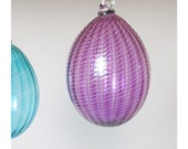 Purple Glass Egg Ornament / Hand Blown / Holiday Decor / Christmas Glass Ball Suncatcher / Pale Transparent Violet