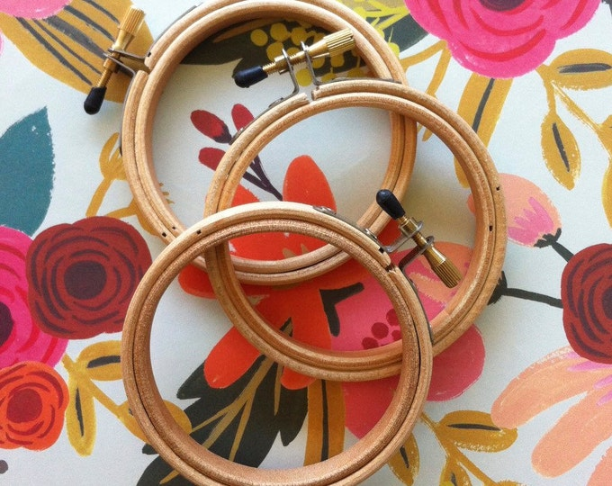 "Featured listing image: 3"" embroidery hoops - set of 3  - embroidery supply - wooden hoop 3 """
