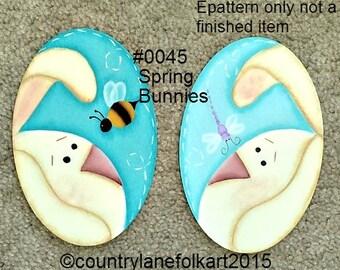 EPATTERN, #0045 Spring Bunnies, digital download, paint your own, painting pattern, rabbit pattern, rabbit art, bunny pattern, prim pattern