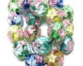 Flower Glass Beads, 15mm Round Flower Beads, Starburst Flowers, 5 colors, 10 pieces