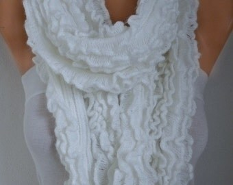 White Knitted Ruffle Lace Scarf,Fall Winter Accessories, Shawl Scarf  Cowl Scarf Gift Ideas For Her Women Fashion Accessories,Christmas Gift