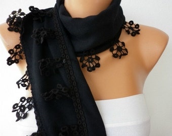 New Year's Fashion Black Pashmina Scarf  Valentine Winter Accessories Shawl Cowl Scarf Gift Ideas For Her Women Fashion Accessories