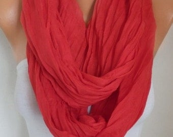 Red Cotton Infinity Scarf,Fall Scarf,So Soft, Bridesmaid Gift Cowl Circle Loop Oversized Gift Ideas For Her Women Fashion Accessories