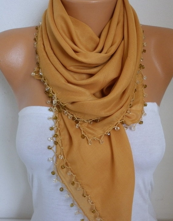 Mustard Cotton Scarf Soft Shawl Spring Summer Cowl Swarovski Bead Gift Ideas For Her Women Fashion Accessories Mother Day Gift Scarves