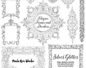 Silver Glitter Digital Frame, Flourish Clipart, Silver Frames, Wedding Invitation Clip Art, Instant Download