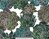 Emerald Green Flower Succulents Clipart, Watercolor Clip Art, Instant Download, Digital Images, Commercial Use