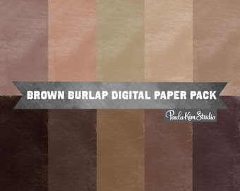 80% OFF SALE Brown Digital Paper Download - Burlap Texture Background Images for Commerical Use