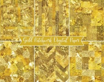 Patchwork Gold Foil Digital Paper Image Instant Download, Background Textures, Gold Glitter Digital Papers