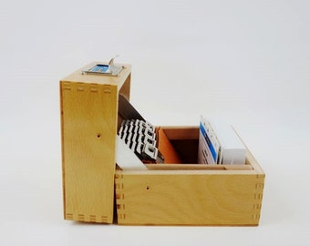 SALE 20% OFF // Vintage Wooden File Box with Tag Frame ABC Cardboard Dividers
