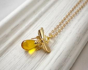 Honey bee necklace, bumble bee, queen bee necklace, honey drop necklace