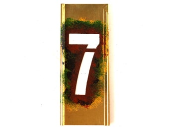 "Vintage Brass Stencil Number ""7"" Reese's Interlocking Stencils, 4"" tall (c.1950s) - Monogram Display, Shadow Box Letter, Art Supply"