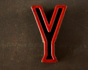 """Vintage Industrial Letter """"Y"""" Black with Red and Green Paint, 2"""" tall (c.1940s) - Monogram Display, Shadow Box Letter, Art"""