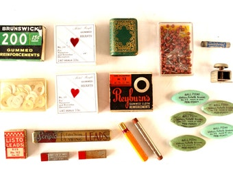 Vintage Instant Office Supply Collection of Pencil Leads, Erasers, Stickers, Map Pins (c.1950s) - Collectible Office Supplies, Photo Props