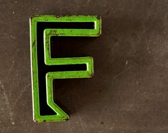 """Vintage Industrial Letter """"F"""" Black with Green and Red Paint, 2"""" tall (c.1940s) - Monogram Display, Shadow Box Letter, Art Supply"""