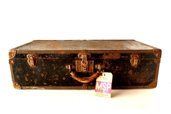 Vintage Black Metal Suitcase / Luggage with Metal Trim and Leather Handle (c.1940s) - Unique Collectible Suitcase, Storage Case