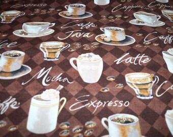 Coffee Fabric Cappuccino Latte Mocha Expresso Java Fat Quarter New BTFQ