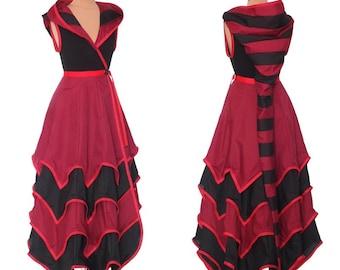 2 tone 4 layer(3,4,5,6) Tournedot Dress With Pixie Hems. 24 stripe ultimate pixie hood/ sleeveless