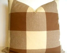 OVERSIZED Brown Check Pillow Cover Brown Buffalo Check Brown Gingham Check Decorative Pillow Cover